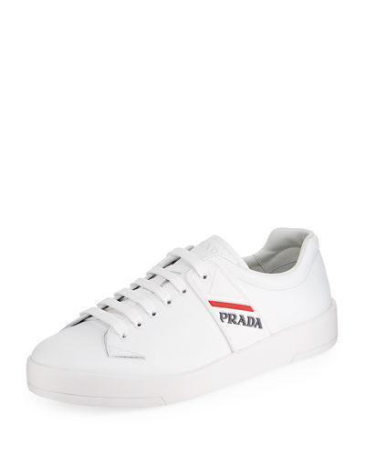 Prada Vitello Plume Leather Low Top Sneaker