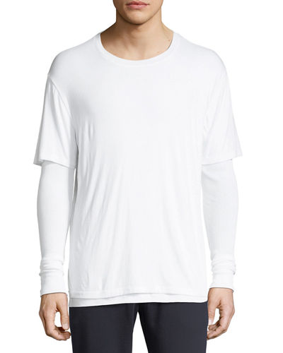 Double-Layer Long-Sleeve Knit T-Shirt