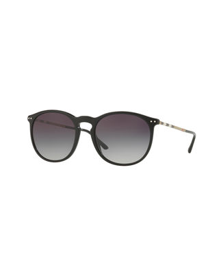 Check-Arm Round Acetate Sunglasses