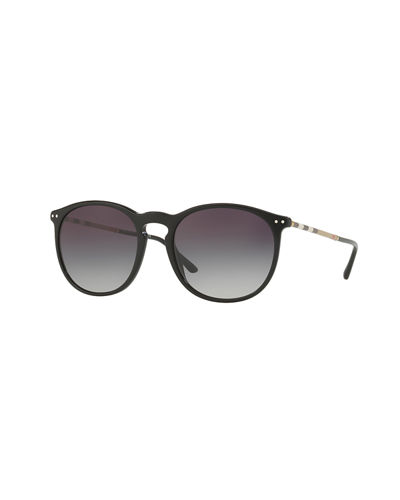 Burberry Check-Arm Round Acetate Sunglasses