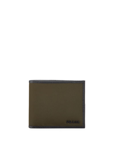 Nylon Billfold Wallet w/ Leather Trim