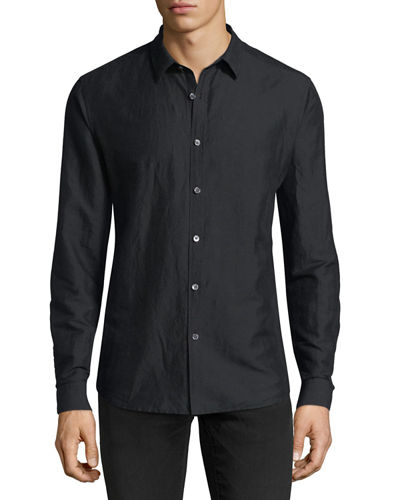 Theory Linen-Blend Long-Sleeve Sport Shirt