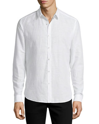 Linen-Blend Long-Sleeve Sport Shirt