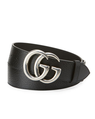 Gucci Men's Leather Belt with Silvertone Double-G Buckle