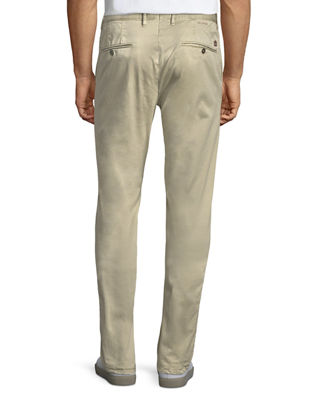 Image 3 of 4: Washed Chino Flat-Front Trousers