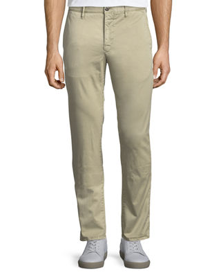 Image 1 of 4: Washed Chino Flat-Front Trousers