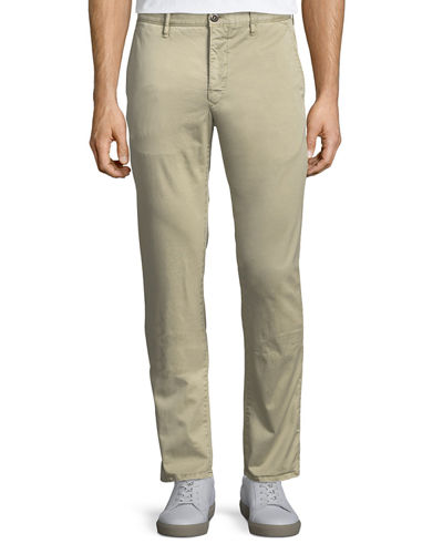 Washed Chino Flat-Front Trousers