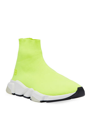 Speed Neon Stretch-knit High-top Sneakers - Yellow Balenciaga