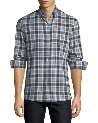 Edita Plaid Flannel Slim-Fit Sport Shirt