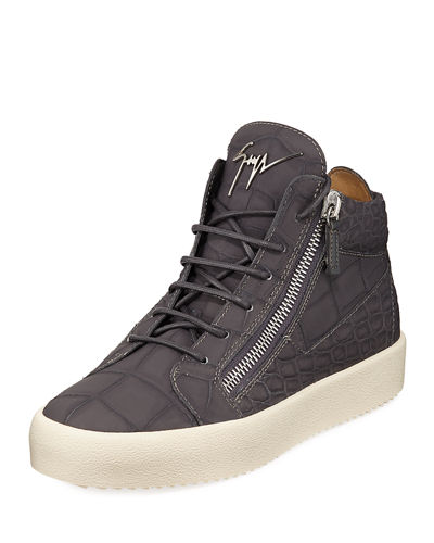 Men's Embossed Leather Mid-Top Sneaker
