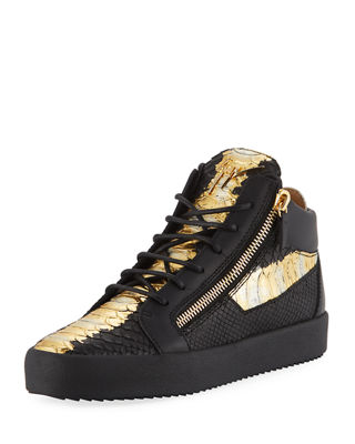 GIUSEPPE ZANOTTI Men'S Painted Croc-Embossed Leather Mid Top Sneakers, Black/Gold