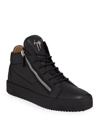 Giuseppe Zanotti Men's Textured Leather Mid-Top Sneaker
