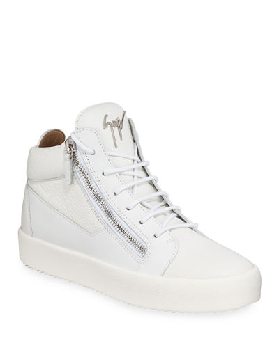 Men's Textured Leather Mid-Top Sneaker