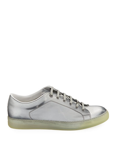 Men's Reflective Leather Low-Top Sneakers