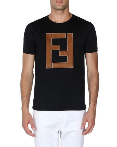 Faux-Leather Logo T-Shirt