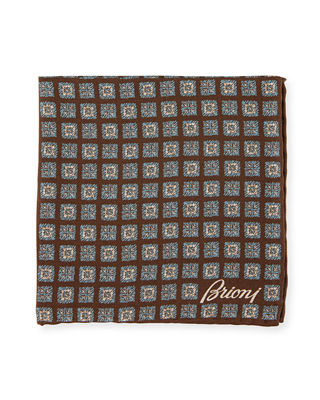 Brioni Striated Medallion Silk Pocket Square