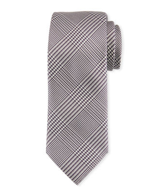 Brioni Houndstooth Plaid Silk Tie