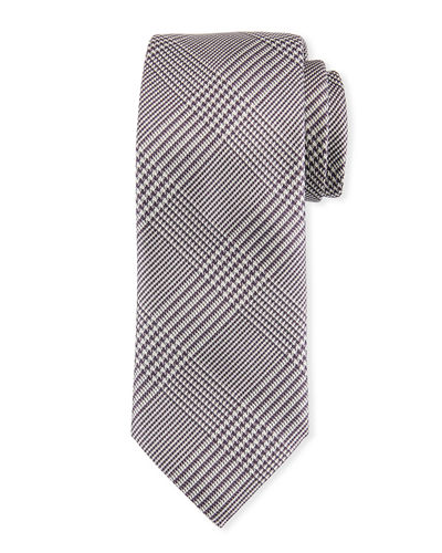 Houndstooth Plaid Silk Tie