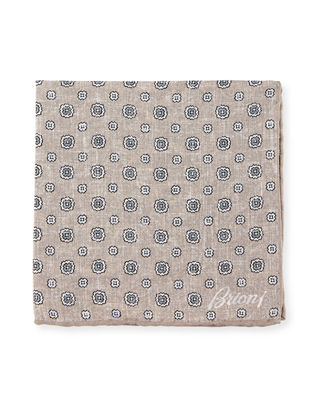 Brioni Faded Medallions Pocket Square