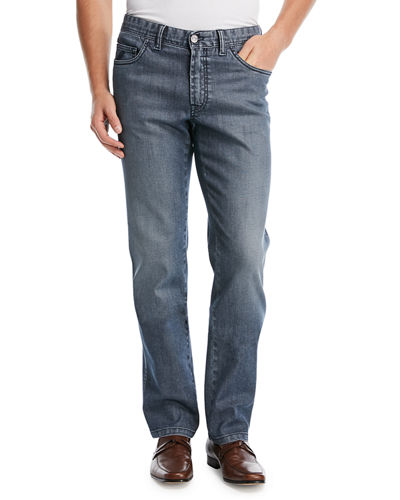 Dark-Wash Stretch-Denim Jeans