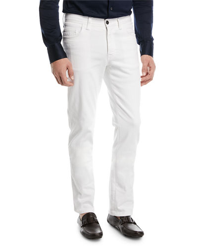 Straight-Leg Denim Jeans, White