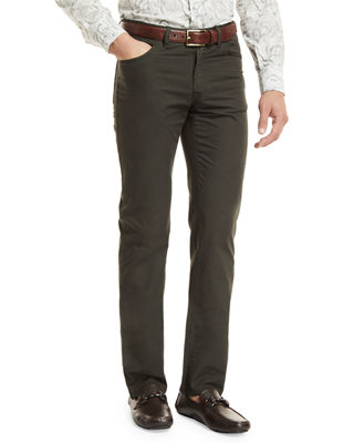 Brioni Five-Pocket Cotton Straight-Leg Pants