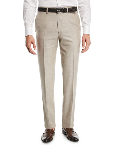 Heathered Wool/Silk Flat-Front Dress Pants