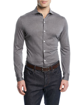 Image 1 of 2: Silk-Blend Sport Shirt