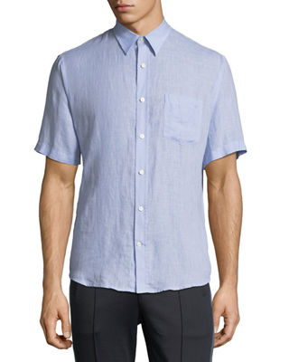 Vince Washed Linen Short-Sleeve Sport Shirt and Matching
