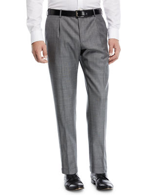 Pleat-Front Sharkskin Trousers