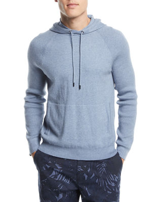 Mixed Textured-Knit Cotton/Cashmere Athleisure Hoodie