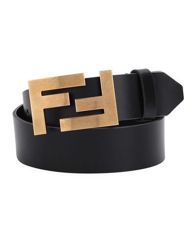 Double-F Buckle Leather Belt