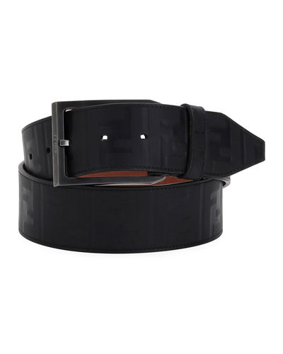 Logo-Embossed Leather Belt
