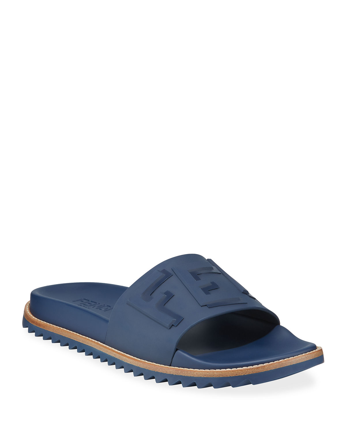 e731db87c5 Rubber Slide Sandals w/ Raised Logo Detail