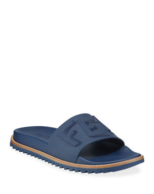 buy online 031d5 086ee Fendi Rubber Slide Sandals w  Raised Logo Detail