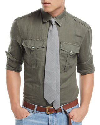 Brunello Cucinelli Linen-Blend Double-Pocket Denim Shirt