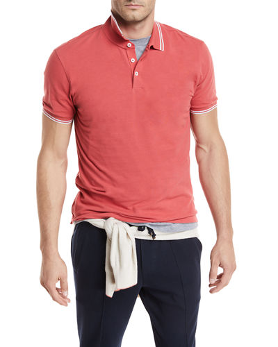 Contrast-Tipped Cotton Polo Shirt