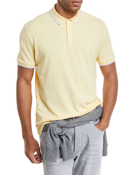 Brunello Cucinelli  CONTRAST-TIPPED COTTON POLO SHIRT