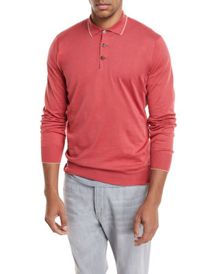 Long-Sleeve Polo Sweater