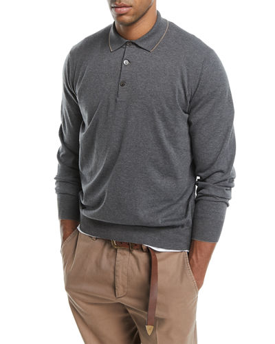 Brunello Cucinelli Long-Sleeve Polo Sweater