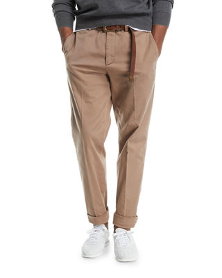 Brunello Cucinelli Flat-Front Twill Pants
