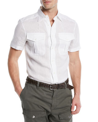 Image 1 of 3: Western-Style Linen Shirt