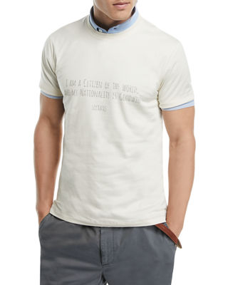 Brunello Cucinelli Socrates Quote Graphic T-Shirt