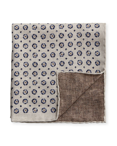Brunello Cucinelli Medallion Reversible Pocket Square