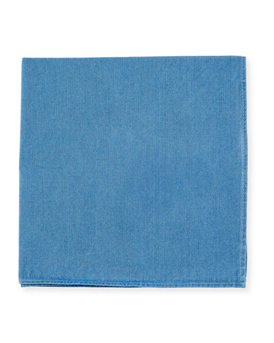 Solid Denim Pocket Square