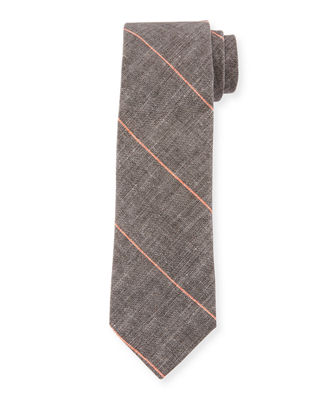 Brunello Cucinelli Fine Striped Linen-Blend Tie
