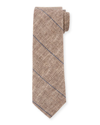 Fine Striped Linen-Blend Tie