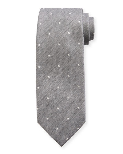 Melange Small-Dot Silk/Cotton Tie
