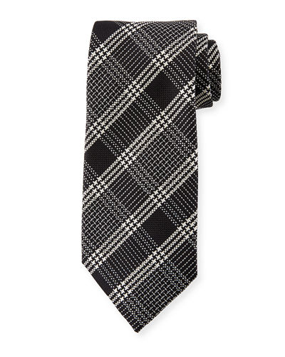 Color Ground Plaid Silk Tie