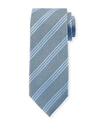Textured Triple Stripe Silk Tie